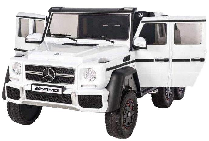 Masinuta electrica Mercedes G63 Duet 6x6, 12V, 6 roti cauciuc EVA, 6 motoare, 2 locuri, scaun piele ecologica, alb [5]