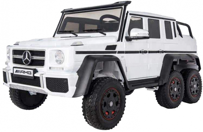 Masinuta electrica Mercedes G63 Duet 6x6, 12V, 6 roti cauciuc EVA, 6 motoare, 2 locuri, scaun piele ecologica, alb [4]