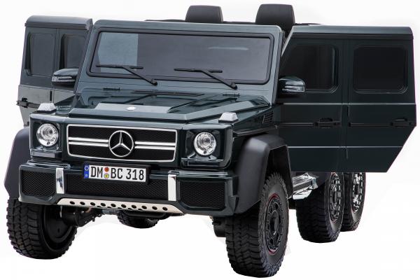 Masinuta electrica Mercedes G63 Solo, 2 baterii 12V, 6 roti cauciuc EVA, 4x4, 1 loc, 4 motoare, negru 12