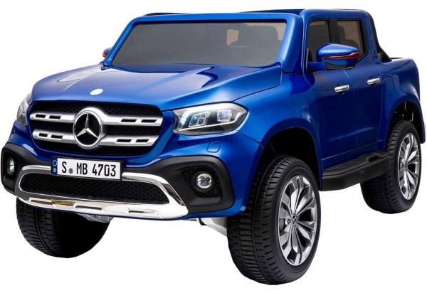 Masinuta electrica 4 x 4 Premier Mercedes X-Class, 12V, roti cauciuc EVA, scaun piele ecologica, albastru [0]