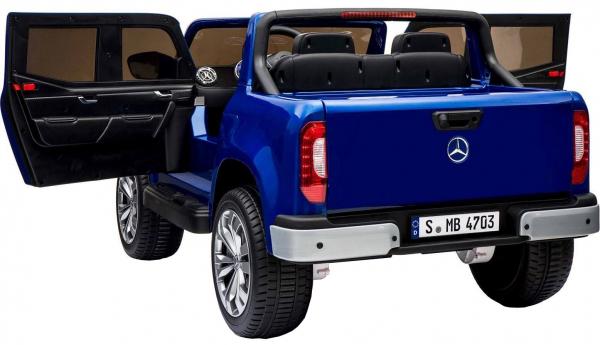 Masinuta electrica 4 x 4 Premier Mercedes X-Class, 12V, roti cauciuc EVA, scaun piele ecologica, albastru [4]