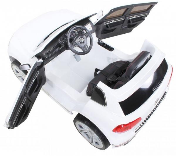 Masinuta electrica Premier Volkswagen Touareg, 12V, roti cauciuc EVA, scaun piele ecologica, alb [5]