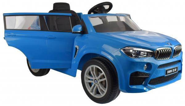 Masinuta electrica Premier BMW X5M, 12V, roti cauciuc EVA, scaun piele ecologica, albastru 11
