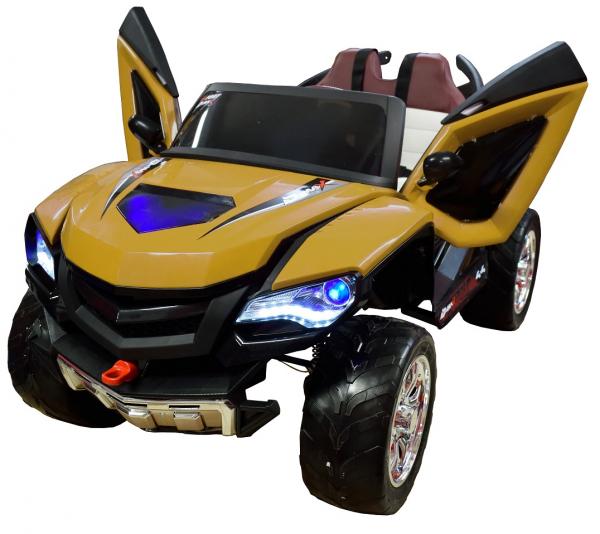 Masinuta electrica 4x4 Premier D-Max, 12V, roti cauciuc EVA, scaun piele ecologica, galben [1]