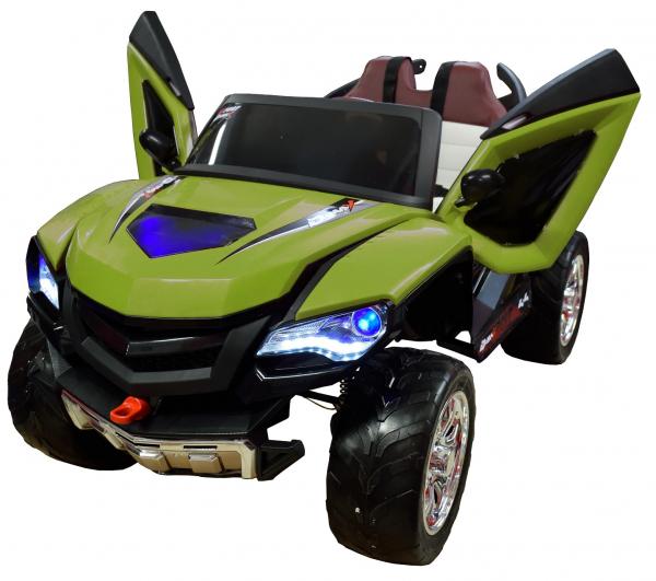 Masinuta electrica 4x4 Premier D-Max, 12V, roti cauciuc EVA, scaun piele ecologica, verde [1]