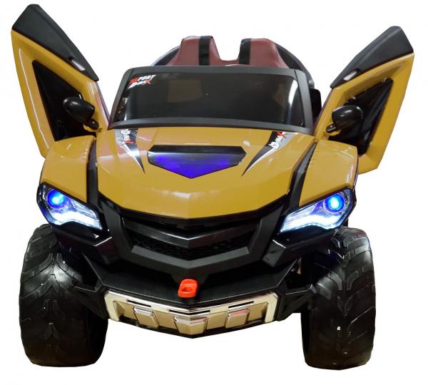 Masinuta electrica 4x4 Premier D-Max, 12V, roti cauciuc EVA, scaun piele ecologica, galben [4]