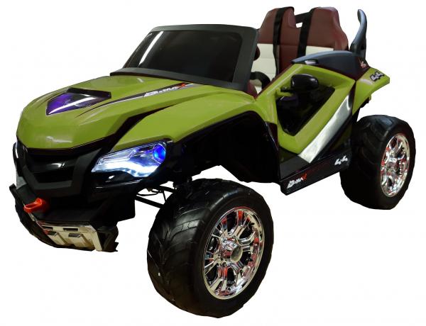 Masinuta electrica 4x4 Premier D-Max, 12V, roti cauciuc EVA, scaun piele ecologica, verde [0]