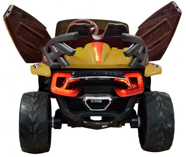 Masinuta electrica 4x4 Premier D-Max, 12V, roti cauciuc EVA, scaun piele ecologica, galben [5]