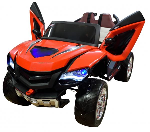 Masinuta electrica 4x4 Premier D-Max, 12V, roti cauciuc EVA, scaun piele ecologica, rosie [4]