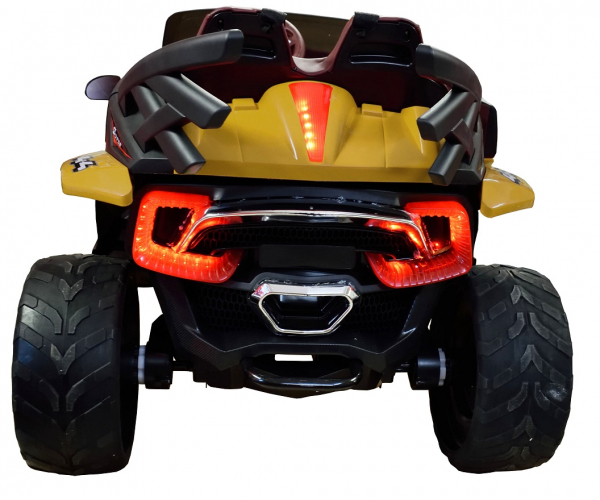 Masinuta electrica 4x4 Premier D-Max, 12V, roti cauciuc EVA, scaun piele ecologica, galben [10]