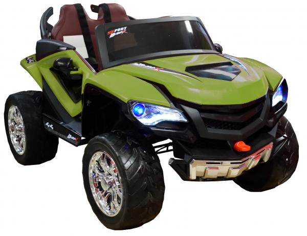 Masinuta electrica 4x4 Premier D-Max, 12V, roti cauciuc EVA, scaun piele ecologica, verde [7]