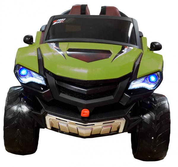 Masinuta electrica 4x4 Premier D-Max, 12V, roti cauciuc EVA, scaun piele ecologica, verde [8]