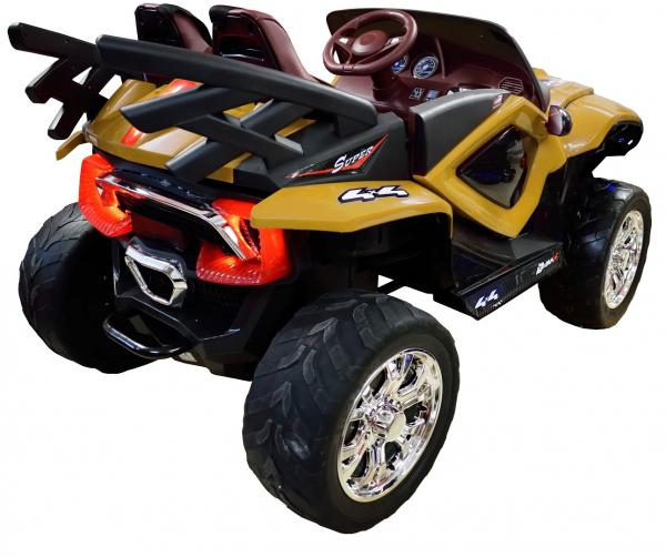 Masinuta electrica 4x4 Premier D-Max, 12V, roti cauciuc EVA, scaun piele ecologica, galben [7]