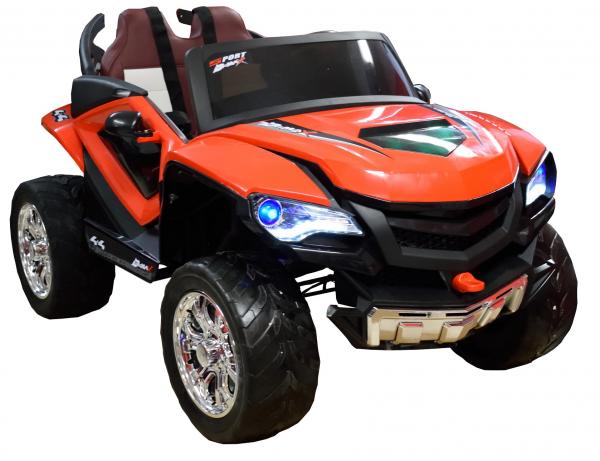 Masinuta electrica 4x4 Premier D-Max, 12V, roti cauciuc EVA, scaun piele ecologica, rosie [8]