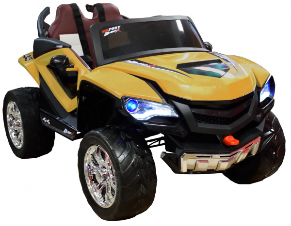 Masinuta electrica 4x4 Premier D-Max, 12V, roti cauciuc EVA, scaun piele ecologica, galben [8]