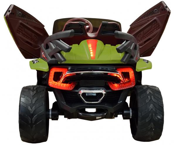 Masinuta electrica 4x4 Premier D-Max, 12V, roti cauciuc EVA, scaun piele ecologica, verde [10]