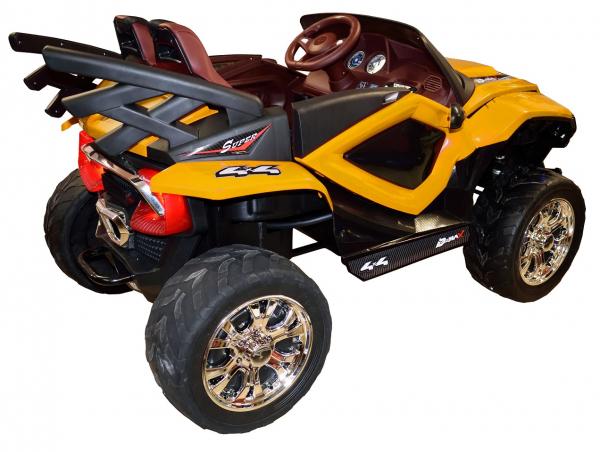 Masinuta electrica 4x4 Premier D-Max, 12V, roti cauciuc EVA, scaun piele ecologica, galben [9]