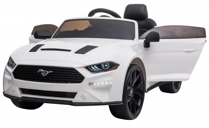 Masinuta electrica Premier Ford Mustang, 12V, roti cauciuc EVA, scaun piele ecologica, alb [1]