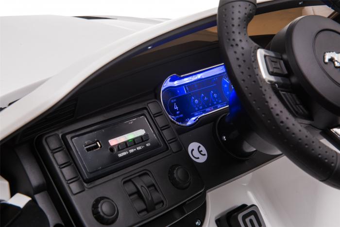 Masinuta electrica Premier Ford Mustang, 12V, roti cauciuc EVA, scaun piele ecologica, alb [34]