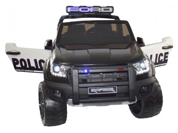 Masinuta electrica politie Premier Ford Raptor, 12V, roti cauciuc EVA, scaun piele ecologica negru 10