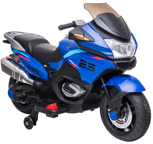 Motocicleta electrica cu 2 roti Premier Flash, 12V, roti cauciuc EVA, MP3, albastra [21]