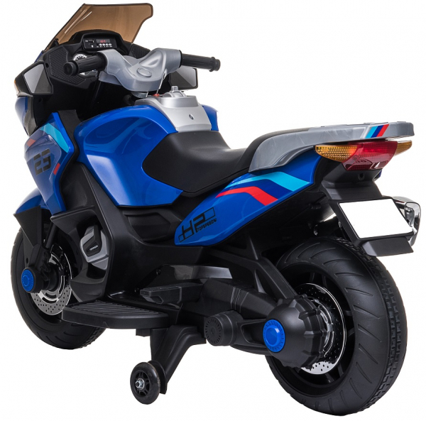 Motocicleta electrica cu 2 roti Premier Flash, 12V, roti cauciuc EVA, MP3, albastra [8]