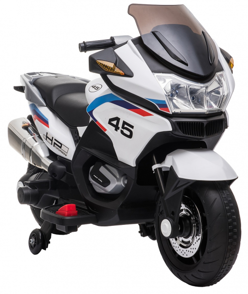 Motocicleta electrica cu 2 roti Premier Flash, 12V, roti cauciuc EVA, MP3, alba [13]