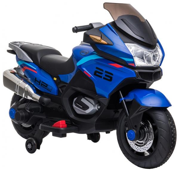 Motocicleta electrica cu 2 roti Premier Flash, 12V, roti cauciuc EVA, MP3, albastra [16]