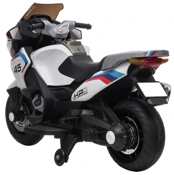 Motocicleta electrica cu 2 roti Premier Flash, 12V, roti cauciuc EVA, MP3, alba [5]