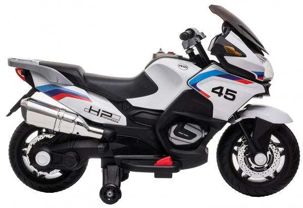 Motocicleta electrica cu 2 roti Premier Flash, 12V, roti cauciuc EVA, MP3, alba [11]