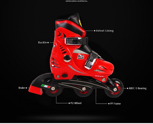 Set role reglabile Ferrari cu casca, genunchiere, cotiere 3