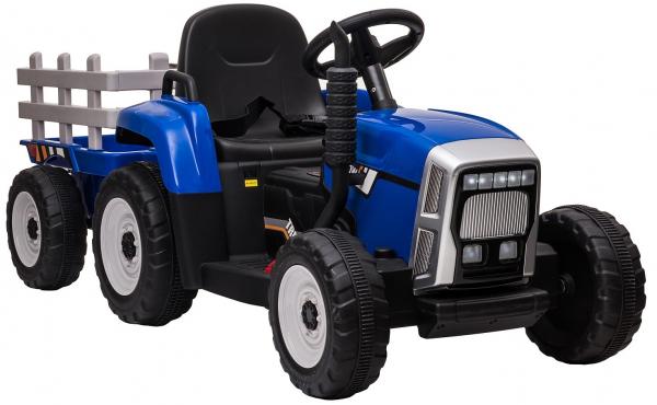 Tractor electric cu remorca Premier Farm, 12V, roti cauciuc EVA, albastru [15]