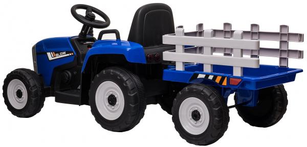 Tractor electric cu remorca Premier Farm, 12V, roti cauciuc EVA, albastru [7]