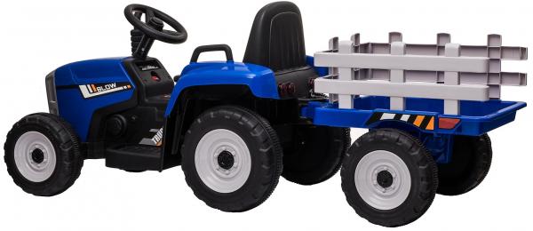 Tractor electric cu remorca Premier Farm, 12V, roti cauciuc EVA, albastru [5]