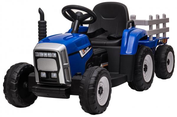 Tractor electric cu remorca Premier Farm, 12V, roti cauciuc EVA, albastru [3]