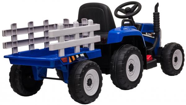 Tractor electric cu remorca Premier Farm, 12V, roti cauciuc EVA, albastru [6]