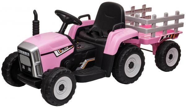 Tractor electric cu remorca Premier Farm, 12V, roti cauciuc EVA 18