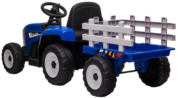 Tractor electric cu remorca Premier Farm, 12V, roti cauciuc EVA, albastru [8]