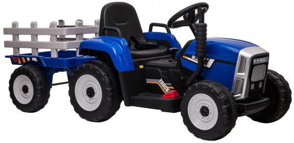 Tractor electric cu remorca Premier Farm, 12V, roti cauciuc EVA, albastru [13]