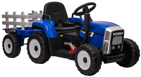 Tractor electric cu remorca Premier Farm, 12V, roti cauciuc EVA, albastru [14]