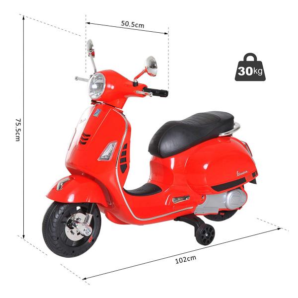 Scooter electric cu 2 roti Premier Vespa GTS Super, 12V, MP3, roti ajutatoare, rosu 7