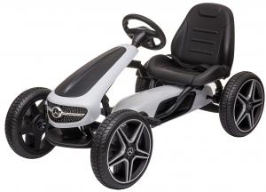 Kart Mercedes cu pedale pentru copii, roti cauciuc Eva, alb [0]
