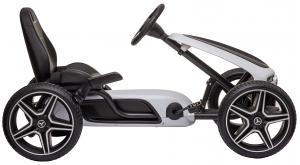 Kart Mercedes cu pedale pentru copii, roti cauciuc Eva, alb [3]