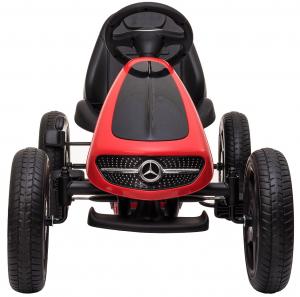 Kart Mercedes cu pedale pentru copii, roti cauciuc Eva, rosu [5]