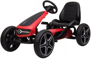 Kart Mercedes cu pedale pentru copii, roti cauciuc Eva, rosu [0]