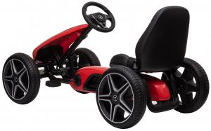 Kart Mercedes cu pedale pentru copii, roti cauciuc Eva, rosu [2]