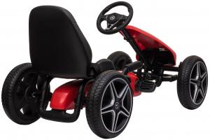 Kart Mercedes cu pedale pentru copii, roti cauciuc Eva, rosu [3]