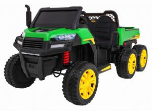 Buggy electric cu bena pentru 2 copii Premier 4x4 Hygge Truck, 6 roti cauciuc EVA, scaun piele ecologica, verde0