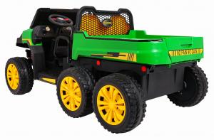 Buggy electric cu bena pentru 2 copii Premier 4x4 Hygge Truck, 6 roti cauciuc EVA, scaun piele ecologica, verde3