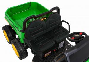 Buggy electric cu bena pentru 2 copii Premier 4x4 Hygge Truck, 6 roti cauciuc EVA, scaun piele ecologica, verde10